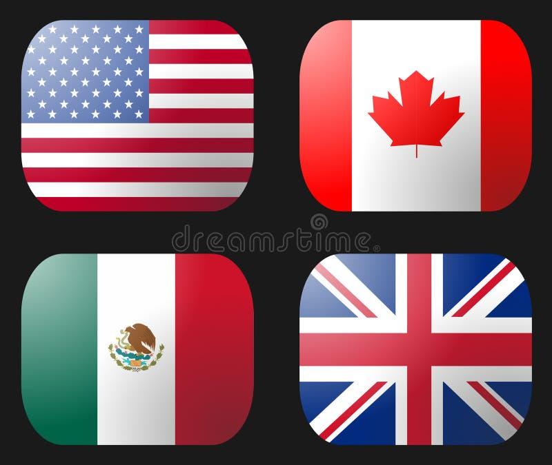 Kanada flagga mexico uk USA vektor illustrationer