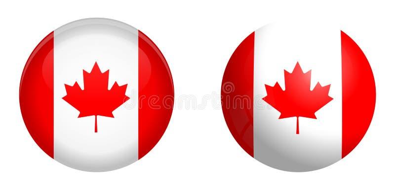 Kanada flagga under knappen för kupol 3d och på glansig sfär/boll stock illustrationer