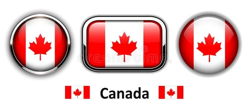 Kanada-Flaggen-Knöpfe lizenzfreie abbildung