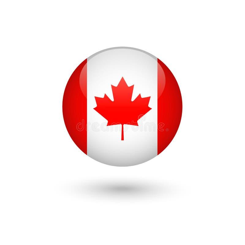 Kanada flagi round glansowany royalty ilustracja