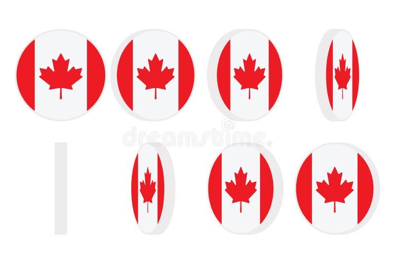 Kanada flagi round ikony przędzalnictwo Animacji sprite prześcieradło pojedynczy białe tło royalty ilustracja