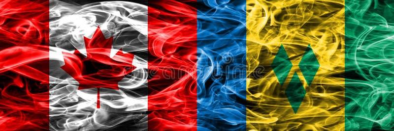 Kanada gegen St. Vincent und die Grenadinen Rauchflaggen setzte Si lizenzfreie abbildung