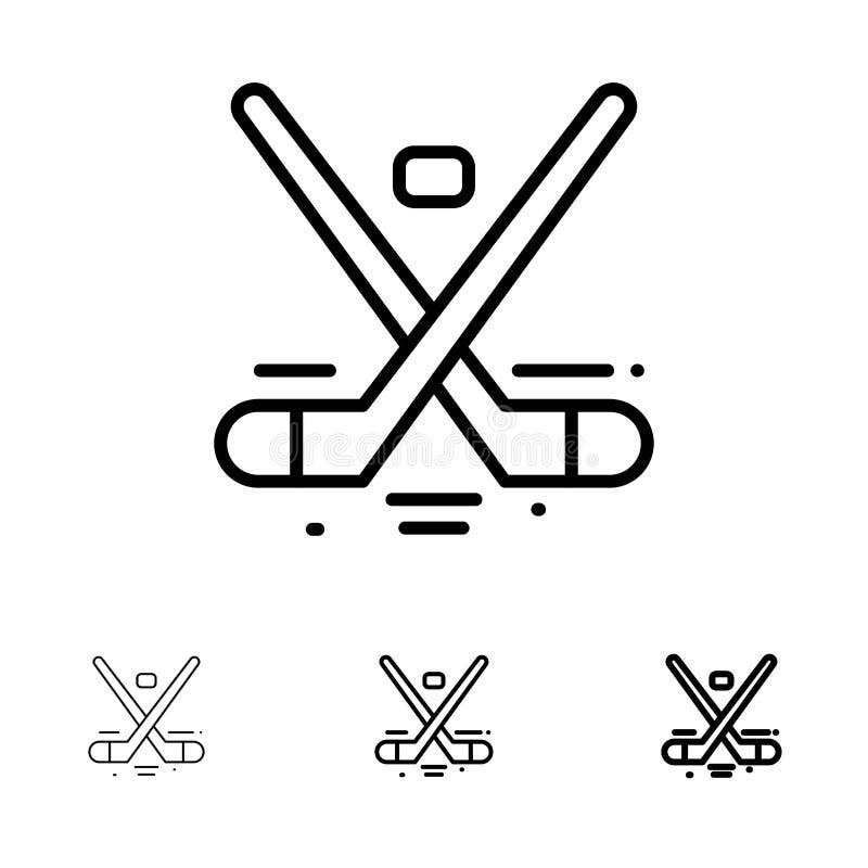 Kanada, gra, hokej, lód, Olympics Śmiali i cienki czerni linii ikony set, ilustracji