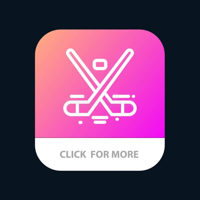 Kanada, gra, hokej, lód, Olympics App Mobilny guzik Android i IOS linii wersja ilustracja wektor