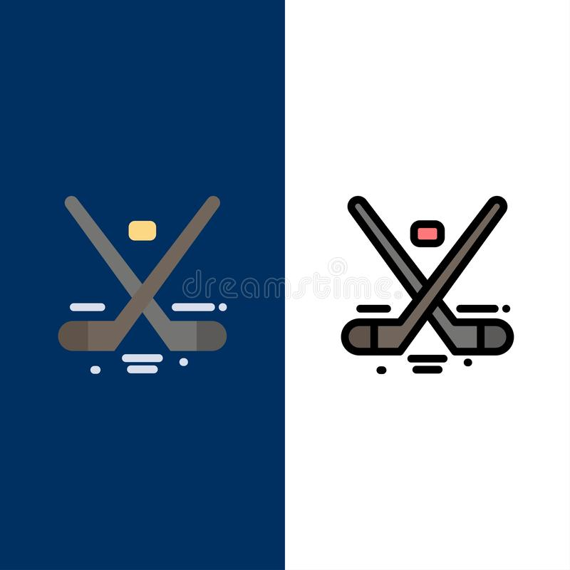 Kanada, gra, hokej, lód, Olympics ikony Mieszkanie i linia Wypełniający ikony Ustalony Wektorowy Błękitny tło ilustracji