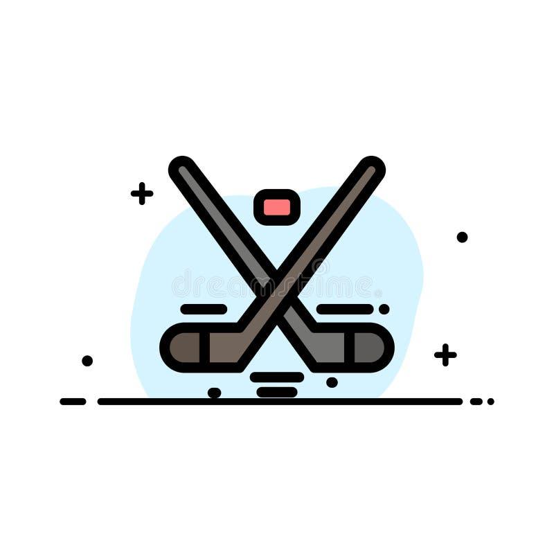 Kanada, gra, hokej, lód, Olympics mieszkania ikony sztandaru Biznesowa linia Wypełniający Wektorowy szablon royalty ilustracja