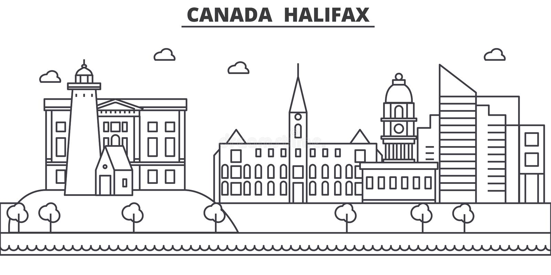 Kanada, Halifax architektury linii linii horyzontu ilustracja Liniowy wektorowy pejzaż miejski z sławnymi punktami zwrotnymi, mia royalty ilustracja