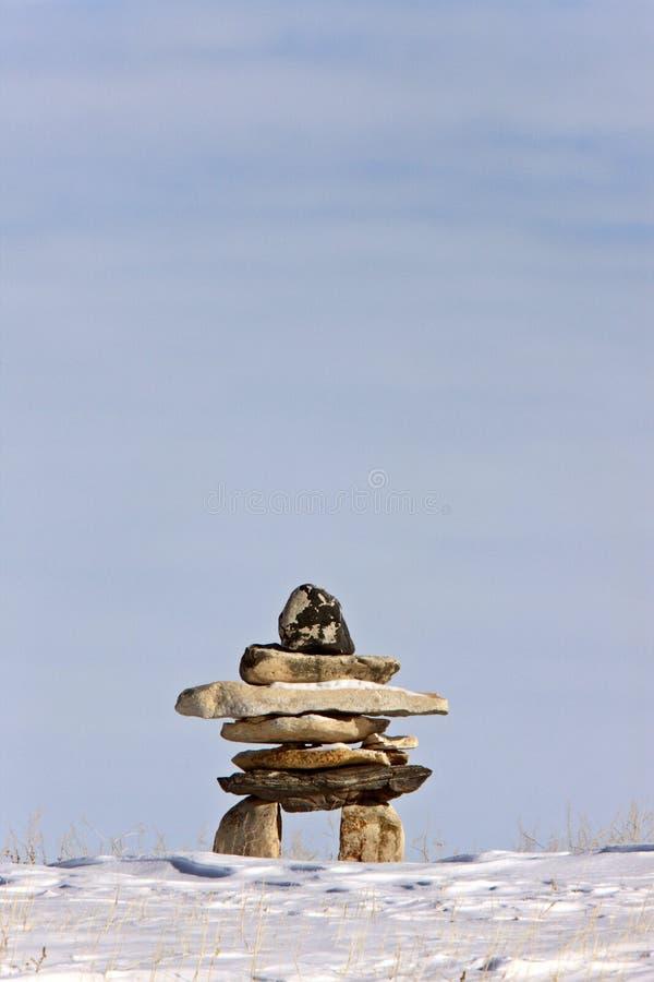 Kanada inukshukvinter arkivbild