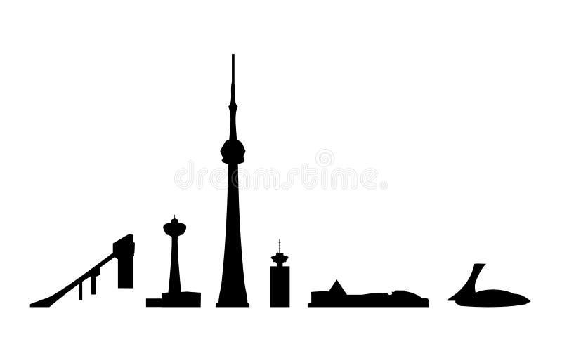 Kanada isolerade landmarksvektorn royaltyfri illustrationer