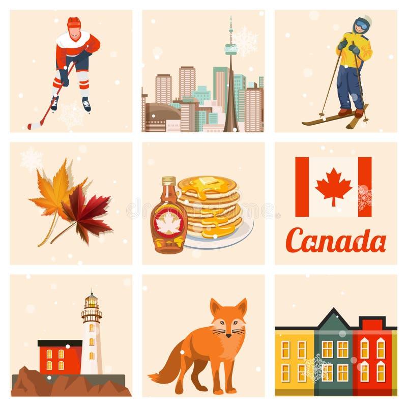 Kanada Kanadyjska wektorowa ilustracja Set Podróży pocztówka royalty ilustracja