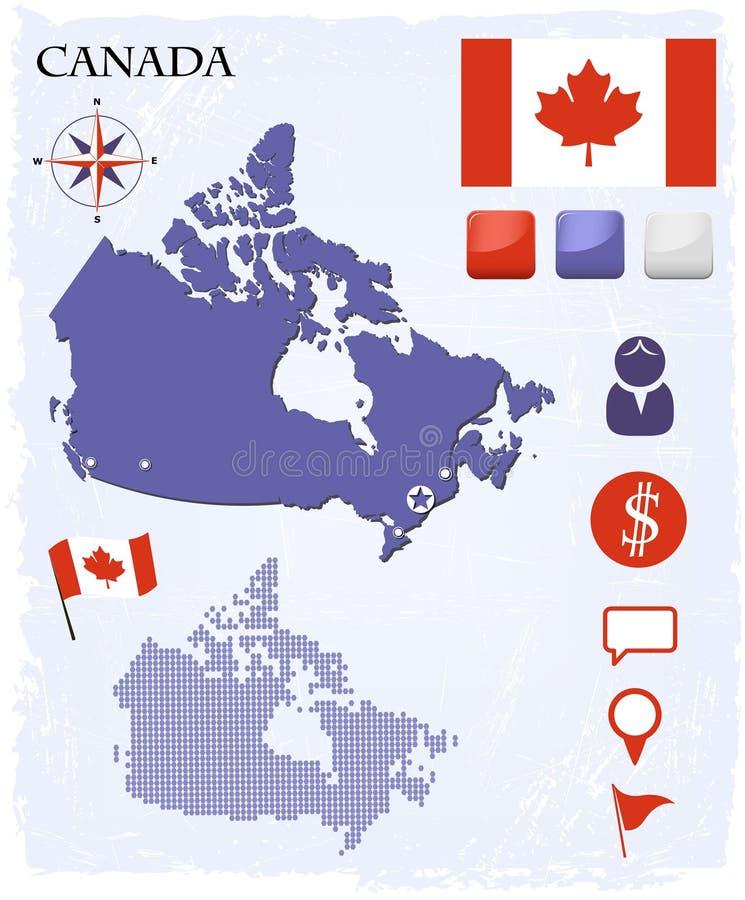 Kanada-Kartenikonen und -tasten eingestellt vektor abbildung