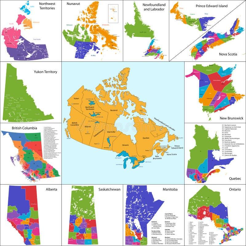 Kanada kartlägger royaltyfri illustrationer