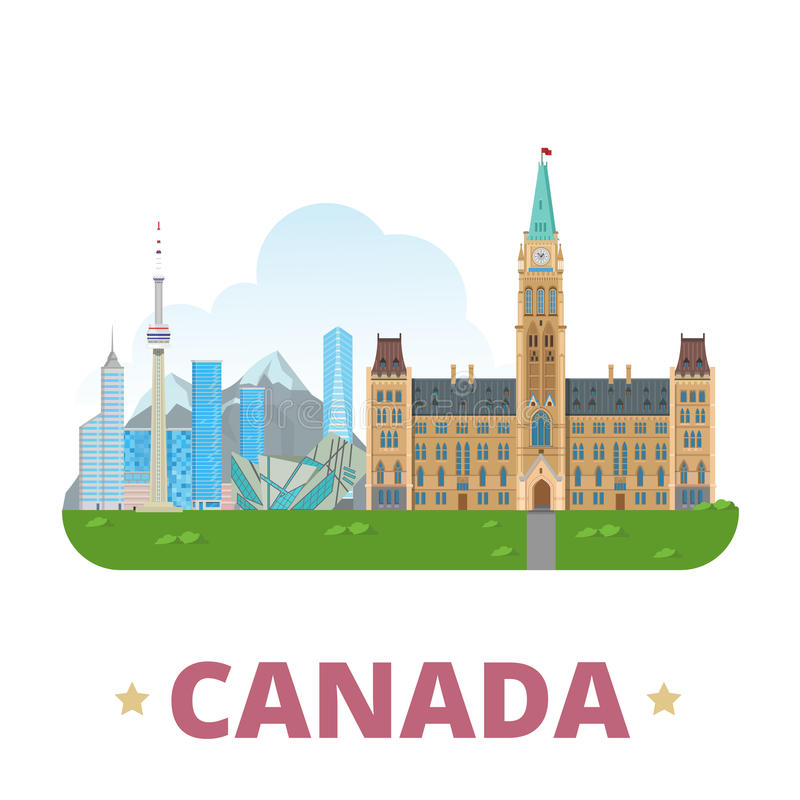 Kanada kraju projekta szablonu kreskówki Płaski styl ilustracji