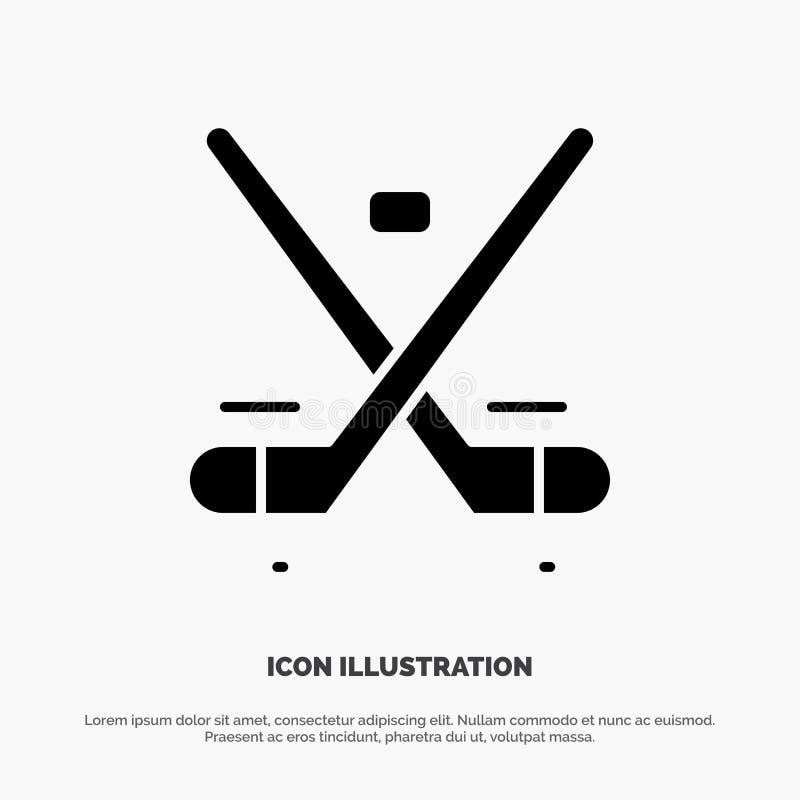 Kanada lek, hockey, is, för skårasymbol för OS:er fast vektor royaltyfri illustrationer