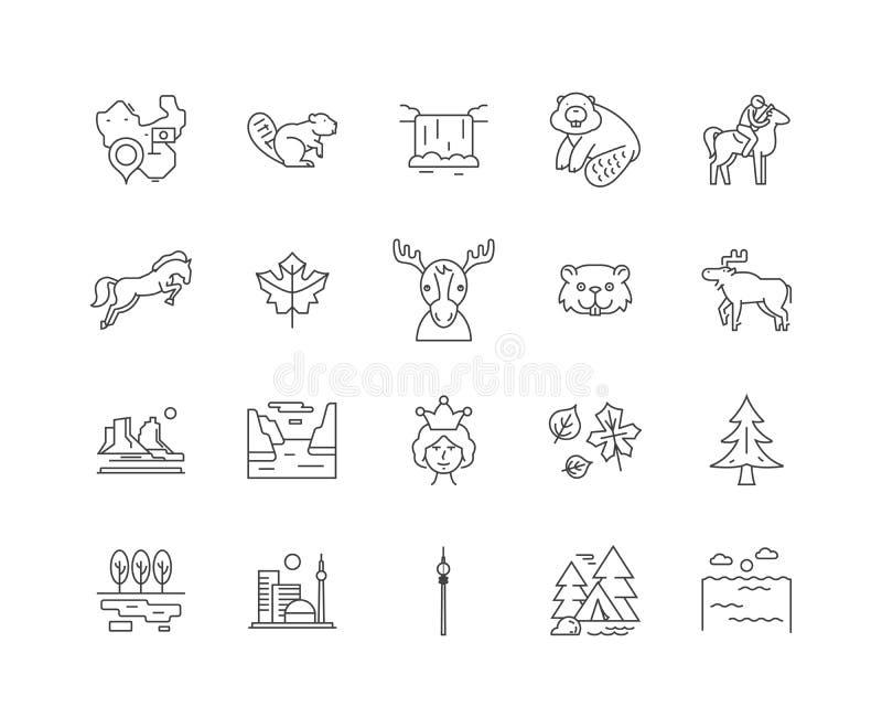 Kanada linje symboler, tecken, vektorupps stock illustrationer
