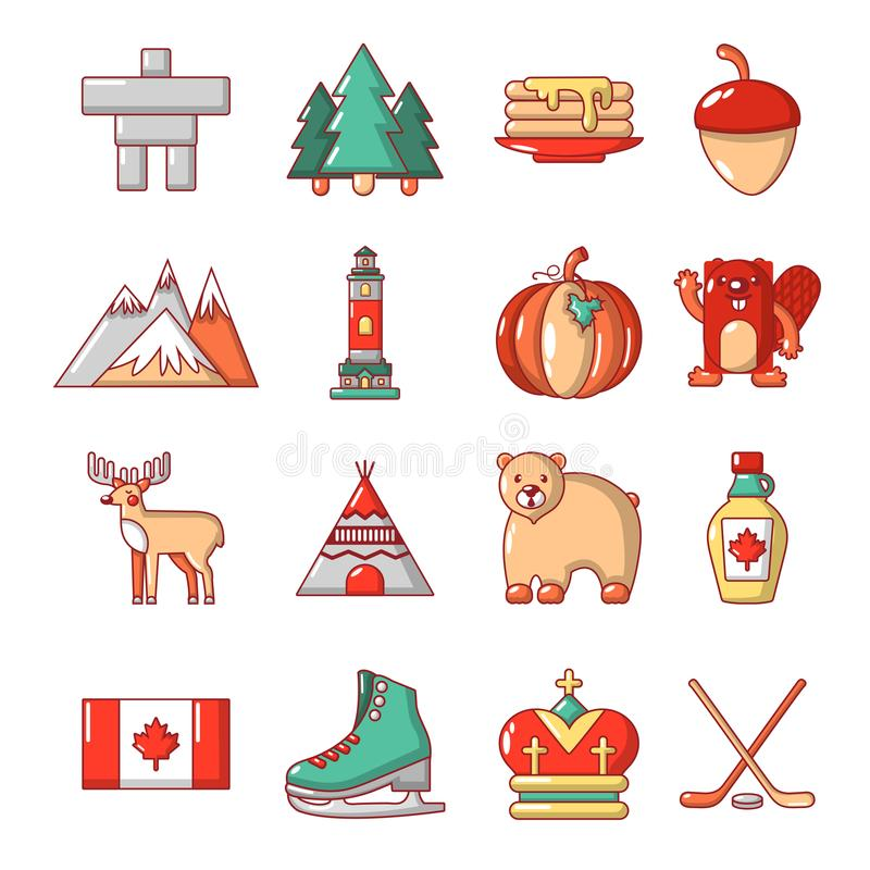 Kanada loppsymboler uppsättning, tecknad filmstil royaltyfri illustrationer