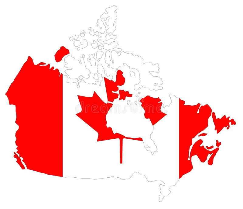 Kanada mapa i flaga - kraj w Północna Ameryka ilustracja wektor