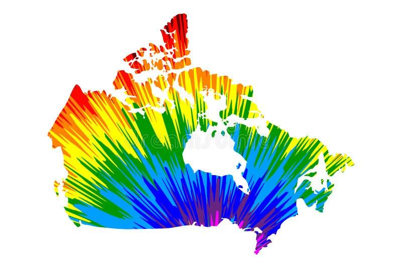 Kanada - mapa jest projektującym tęczy abstrakcjonistycznym kolorowym wzorem royalty ilustracja