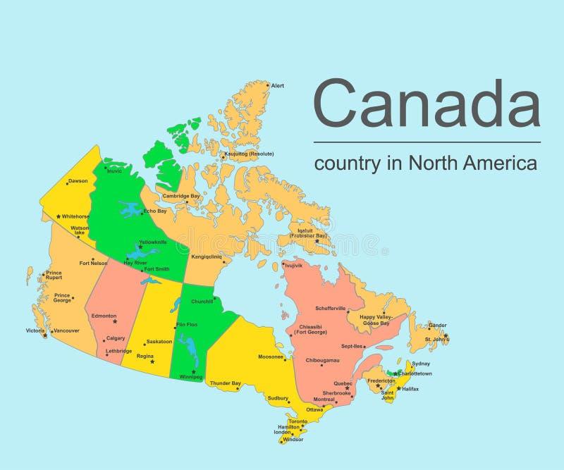 Kanada mapa z prowincjami i miastami, wektorowa ilustracja ilustracji
