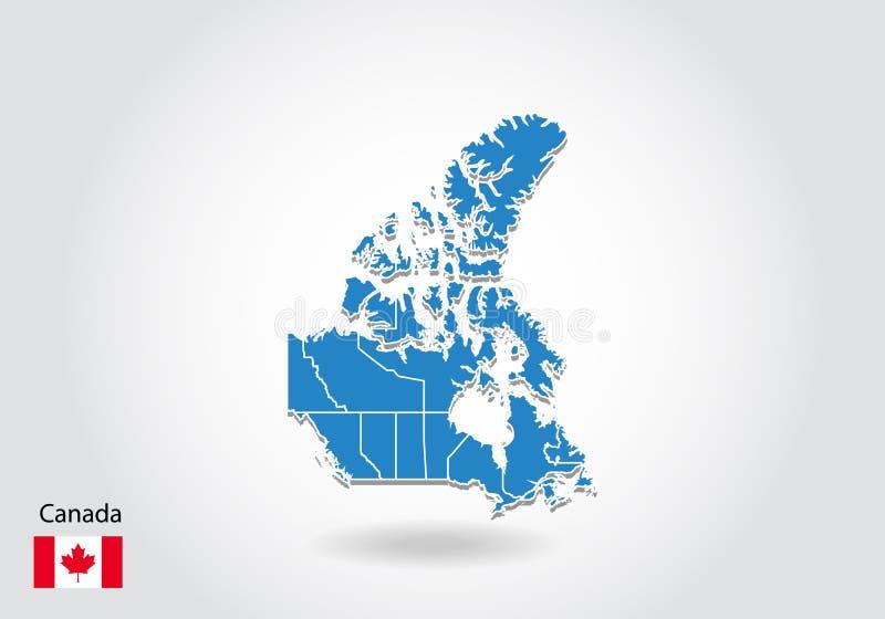 Kanada mapy projekt z 3D stylem Błękitna Canada flaga państowowa i mapa Prosta wektorowa mapa z konturem, kształt, kontur, na bie ilustracja wektor