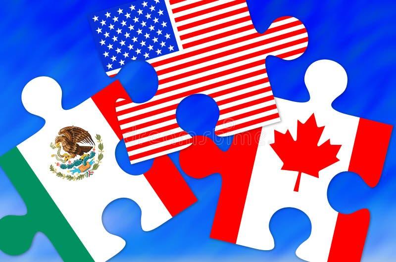 Kanada, Mexiko und US-Flaggen-Puzzlespiel-Stücke vektor abbildung