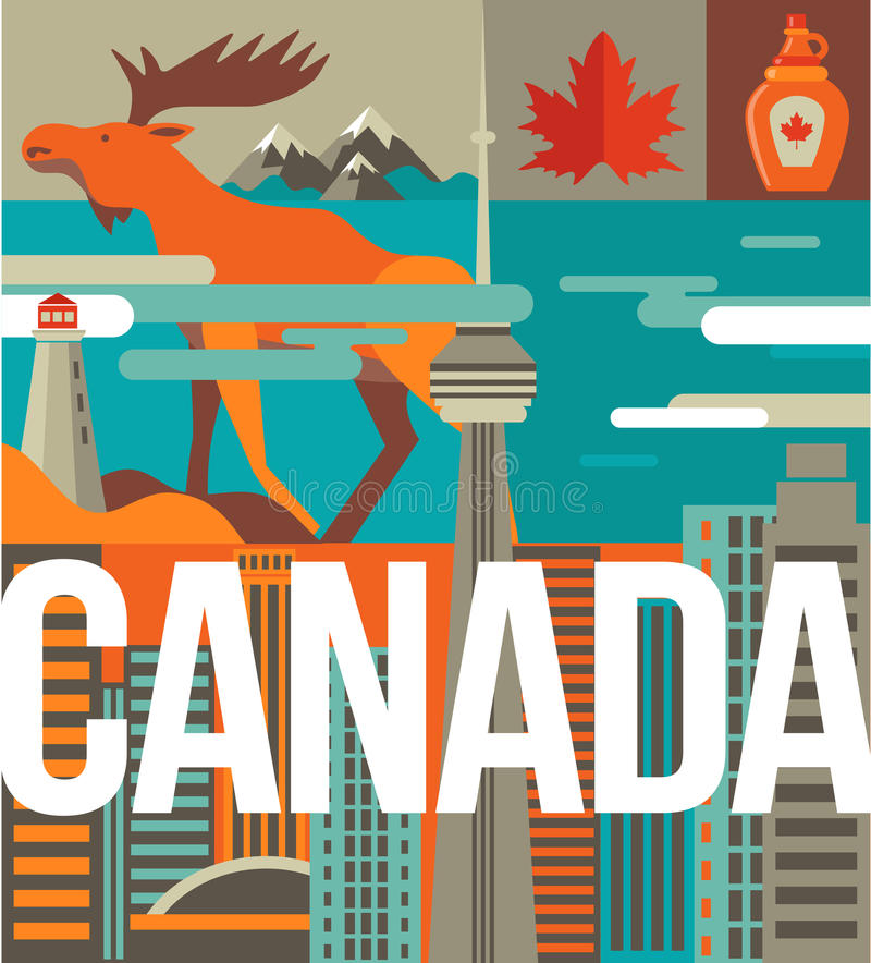Kanada miłość - serce z ikonami i elementami ilustracji