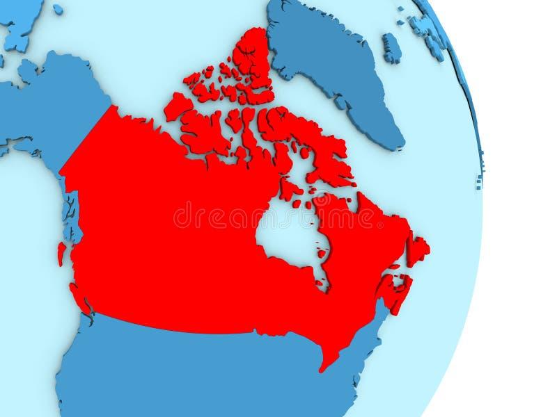 Kanada na błękitnej politycznej kuli ziemskiej ilustracja wektor