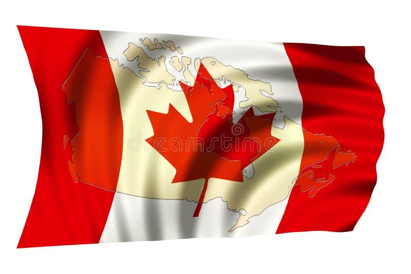 Kanada nationsflagga och översikt vektor illustrationer