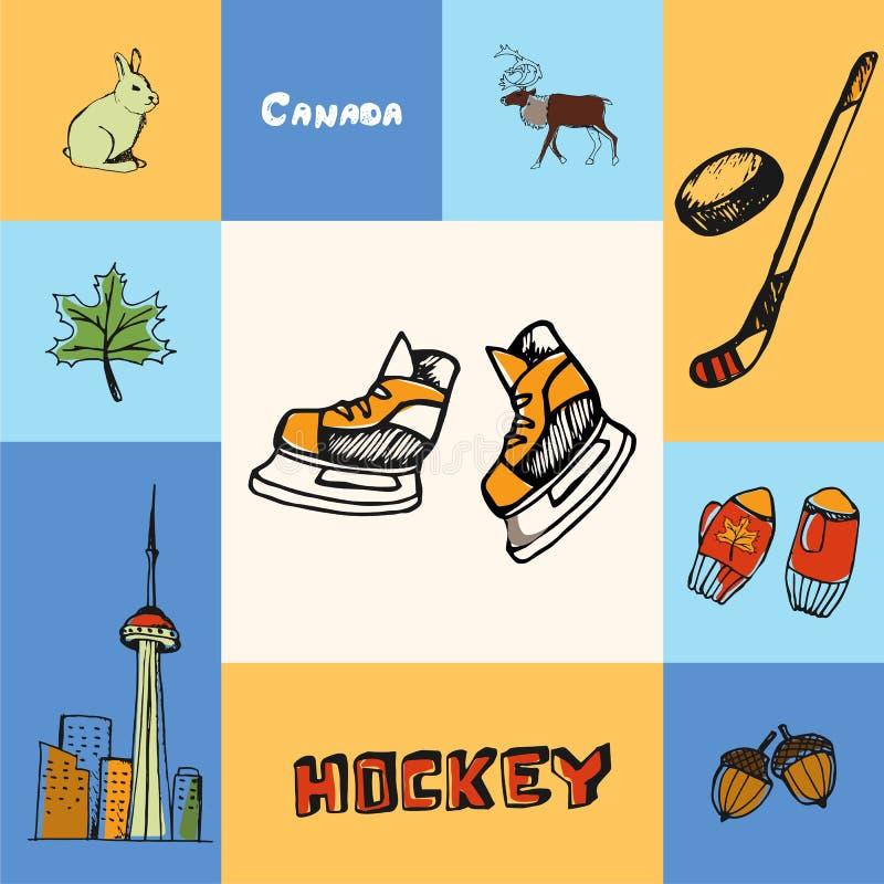 Kanada Obciosywał Kolorowego pojęcie z Doodles ilustracja wektor