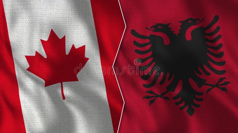Kanada och Albanien halva flaggor tillsammans royaltyfri foto