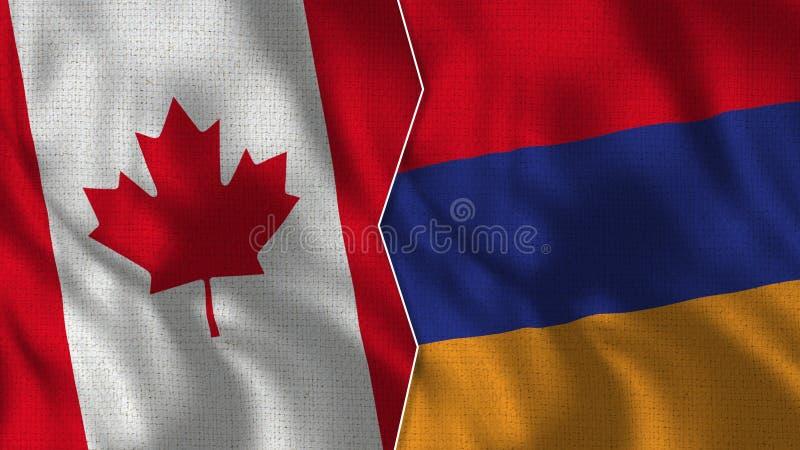 Kanada och Armenien halva flaggor tillsammans arkivbild
