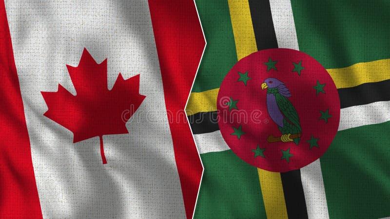 Kanada och Dominica Half Flags Together stock illustrationer