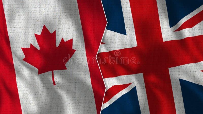 Kanada och Förenade kungariket halva flaggor tillsammans royaltyfri foto