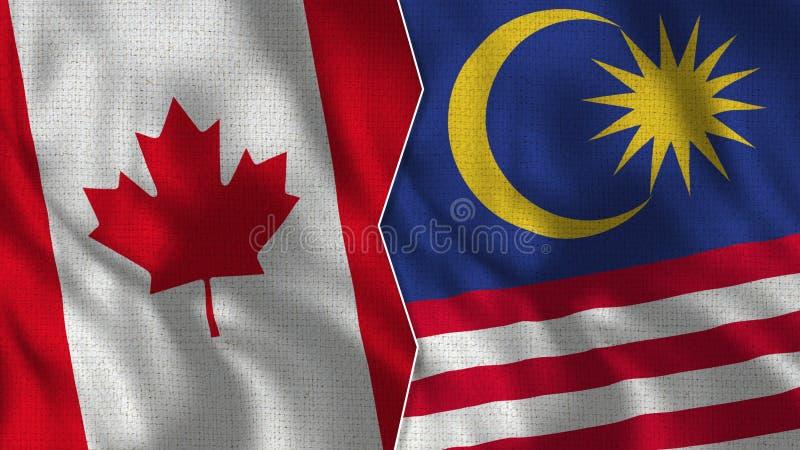 Kanada och Malaysia halva flaggor tillsammans vektor illustrationer