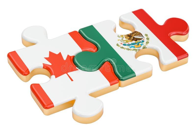 Kanada och Mexico förbryllar med flaggor, tolkningen 3D royaltyfri illustrationer