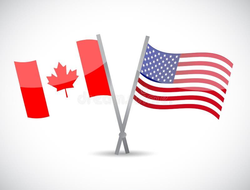 Kanada och oss partnerskapbegreppsillustration vektor illustrationer