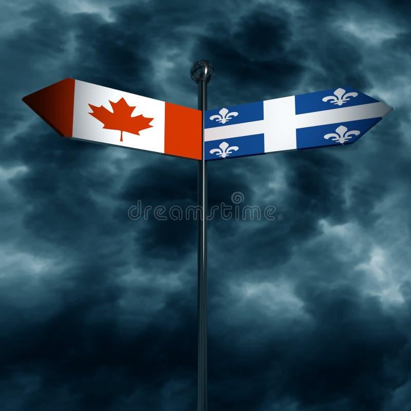 Kanada och Quebeq kloka förhållanden stock illustrationer