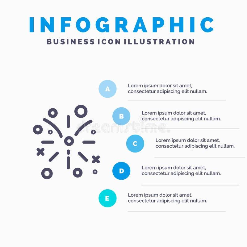 Kanada, ogień praca, Pożarniczej linii ikona z 5 kroków prezentacji infographics tłem royalty ilustracja