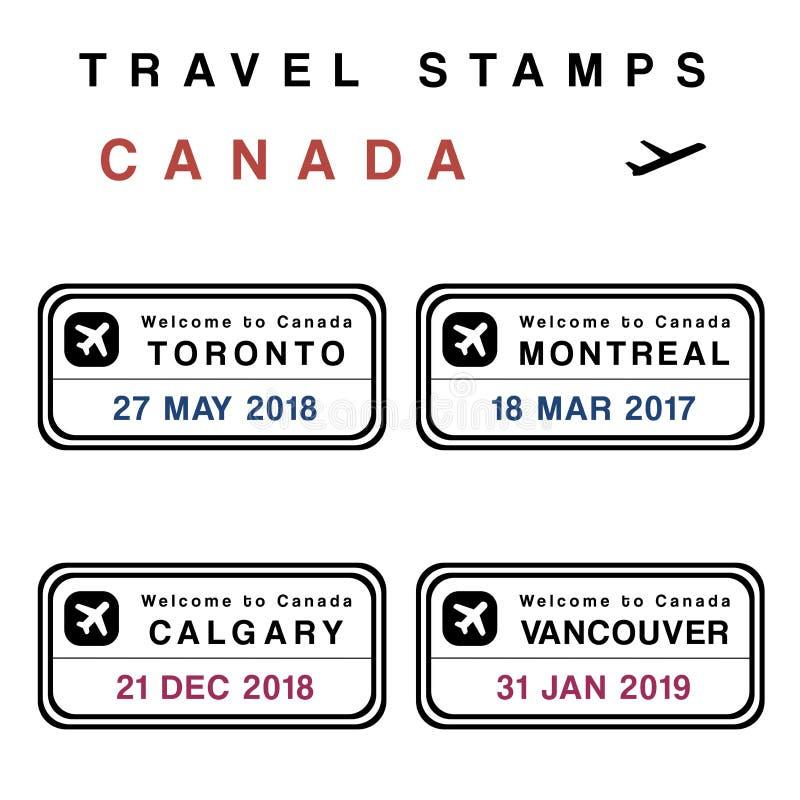 Kanada paszporta znaczki ilustracji