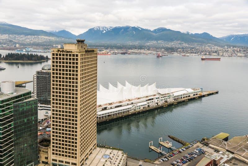 Kanada-Platz, Vancouver vom höchsten Standpunkt stockbild