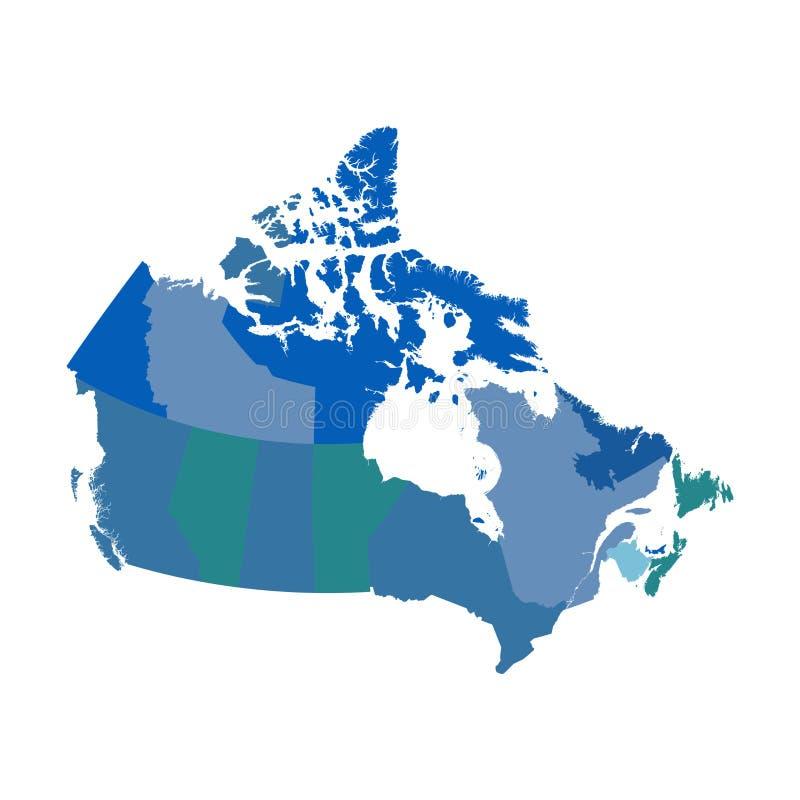 Kanada politisk vektoröversikt stock illustrationer