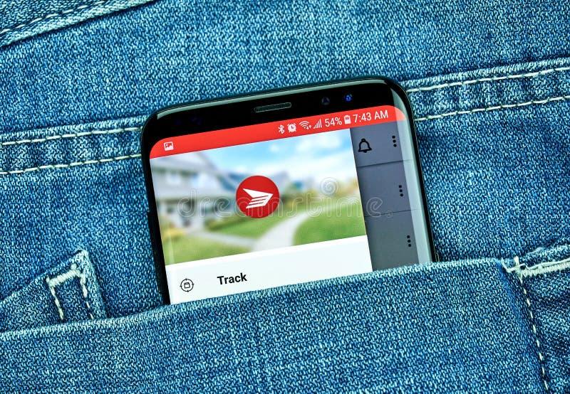 Kanada-Posten mobiler App auf Samsung s8 lizenzfreie stockfotos