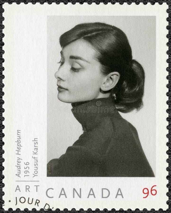 KANADA - 2008: przedstawienia Audrey Hepburn 1929-1993, aktorka zdjęcie royalty free