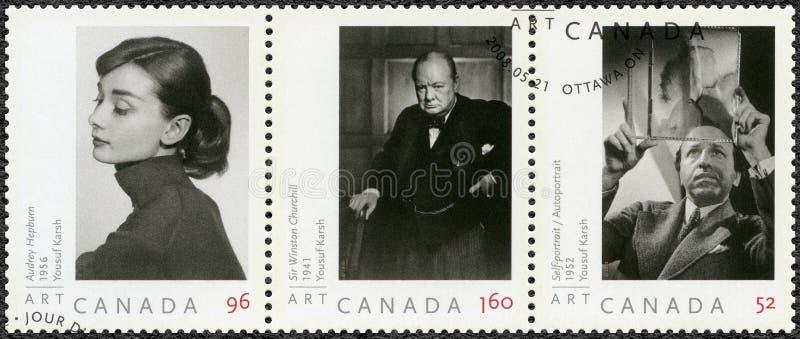 KANADA - 2008: przedstawienia Audrey Hepburn 1929-1993, Sir Winston Churchill i autoportret Yousuf Karsh 1908-2002, 1874-1965, zdjęcia stock