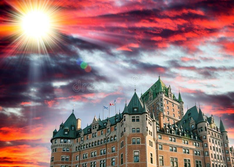 Kanada quebec Majestät av Hotell de Frontenac arkivfoto