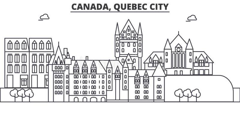 Kanada, Quebec miasto architektury linii linii horyzontu ilustracja Liniowy wektorowy pejzaż miejski z sławnymi punktami zwrotnym royalty ilustracja