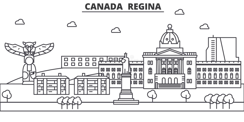 Kanada, Regina architektury linii linii horyzontu ilustracja Liniowy wektorowy pejzaż miejski z sławnymi punktami zwrotnymi, mias ilustracja wektor