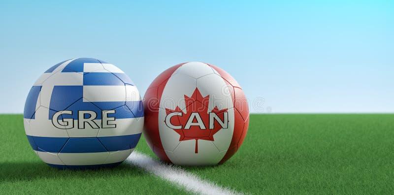Kanada a. Reprezentacja Grecji w piłce nożnej - piłki nożnej w Kanadzie i Grecji na łóżku z monetami złotymi royalty ilustracja