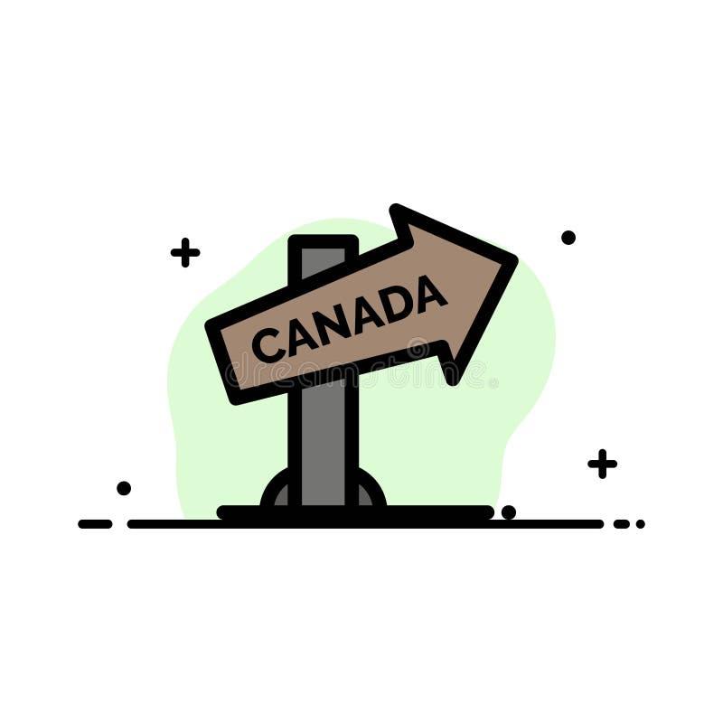 Kanada, Richtung, Standort, Zeichen-Geschäfts-flache Linie füllte Ikonen-Vektor-Fahnen-Schablone lizenzfreie abbildung
