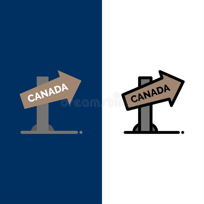 Kanada, Richtung, Standort, Zeichen-Ikonen Ebene und Linie gefüllte Ikone stellten Vektor-blauen Hintergrund ein lizenzfreie abbildung
